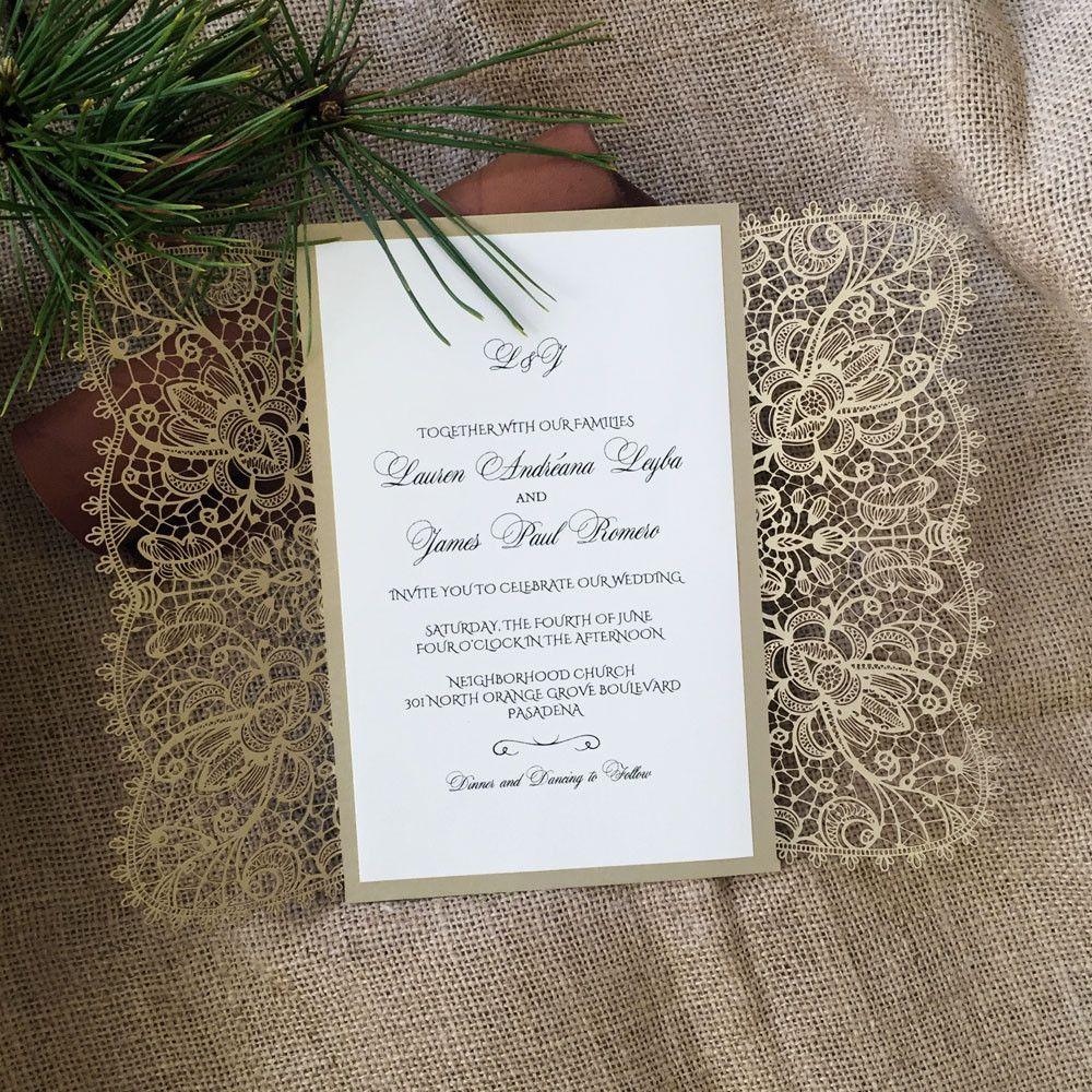 Laser Cut Wedding Invitation - Bohemian Lace Gatefold - A9 - Offset ...