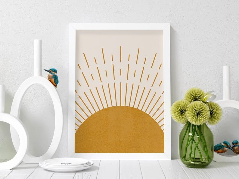 Home Print Abstract Sunset Print Picture Mustard Yellow Modern Wall Decor Art