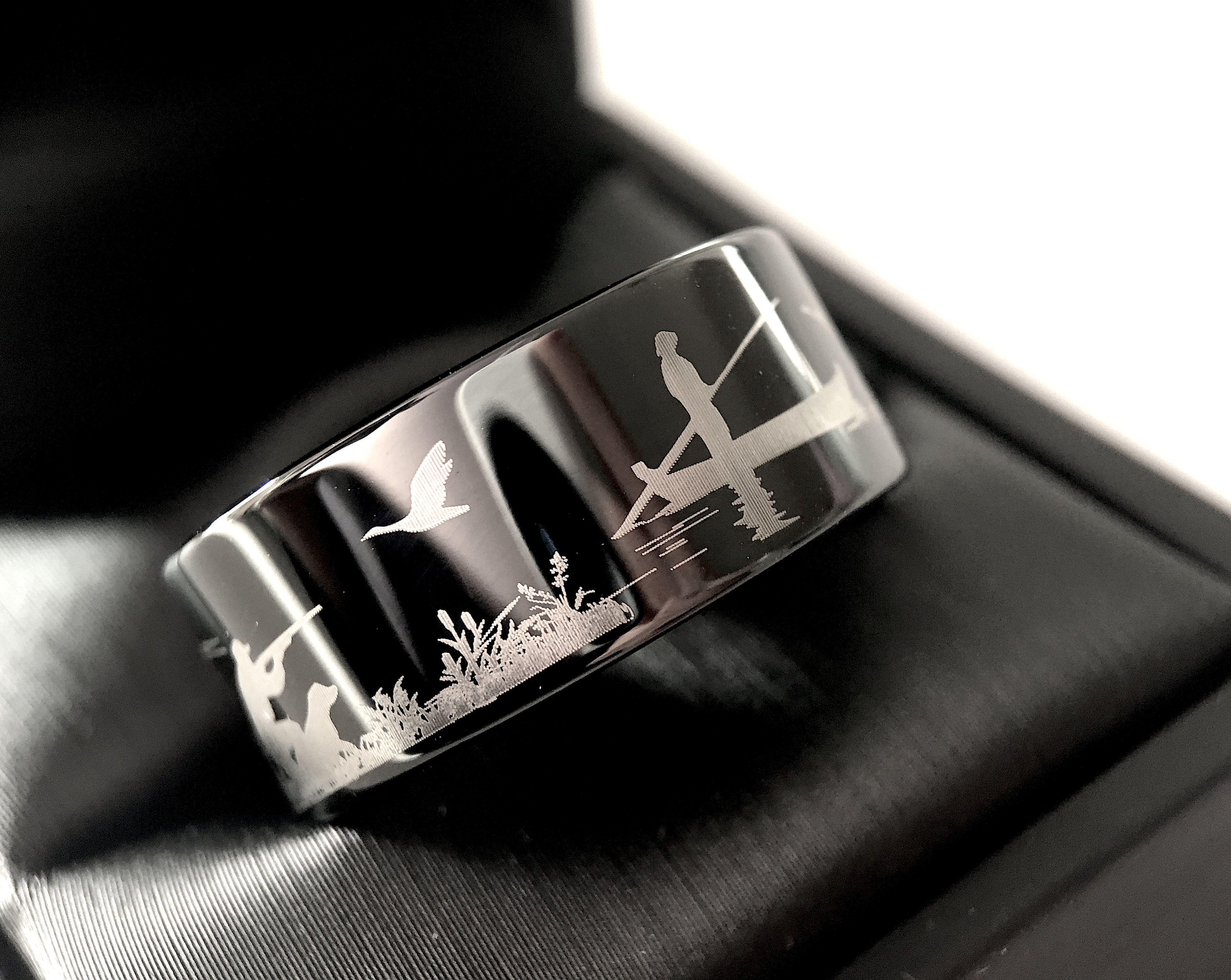 duck hunting ring fisherman ring duck band wedding ring black tungsten ring