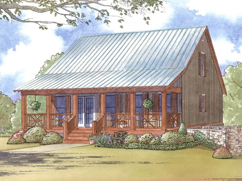 e plans low country house plan cabin style plan with full length front porch