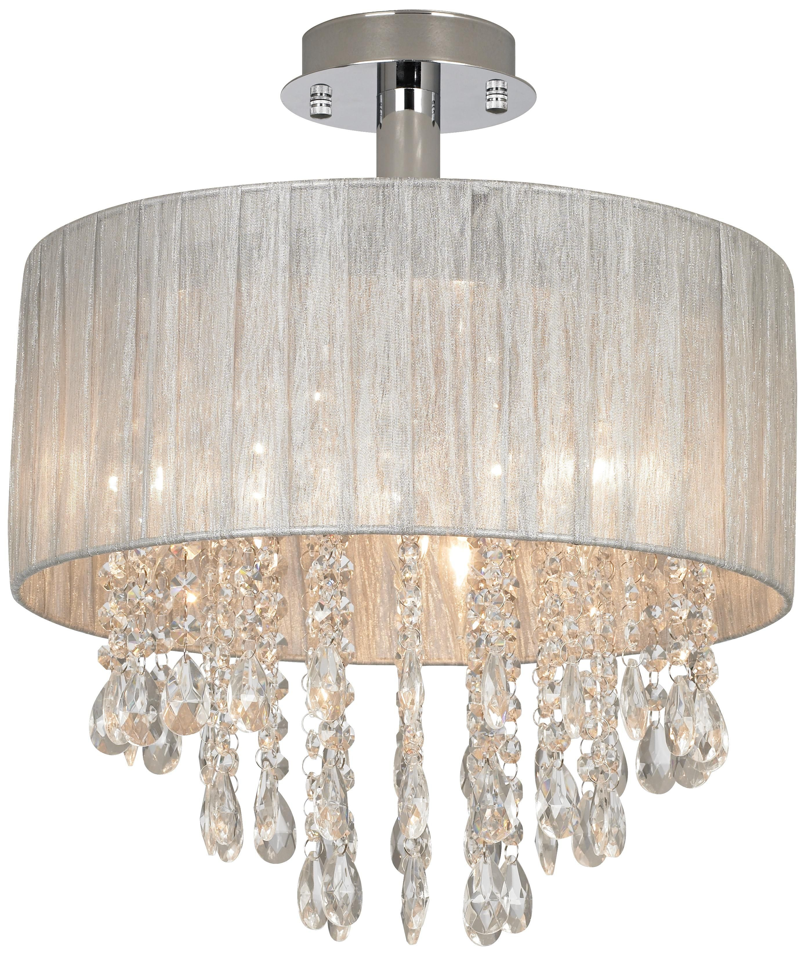 """Possini Euro Jolie 15"""" Wide Silver and Crystal Ceiling"""