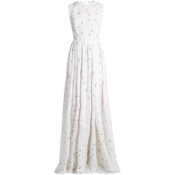 Emilia Wickstead Herbe sleeveless floral-print cloqué gown (9.410 BRL) ❤ liked on Polyvore featuring dresses, gowns, white multi, white evening gowns, evening gowns, ruched evening dress, white ball gowns and evening dresses