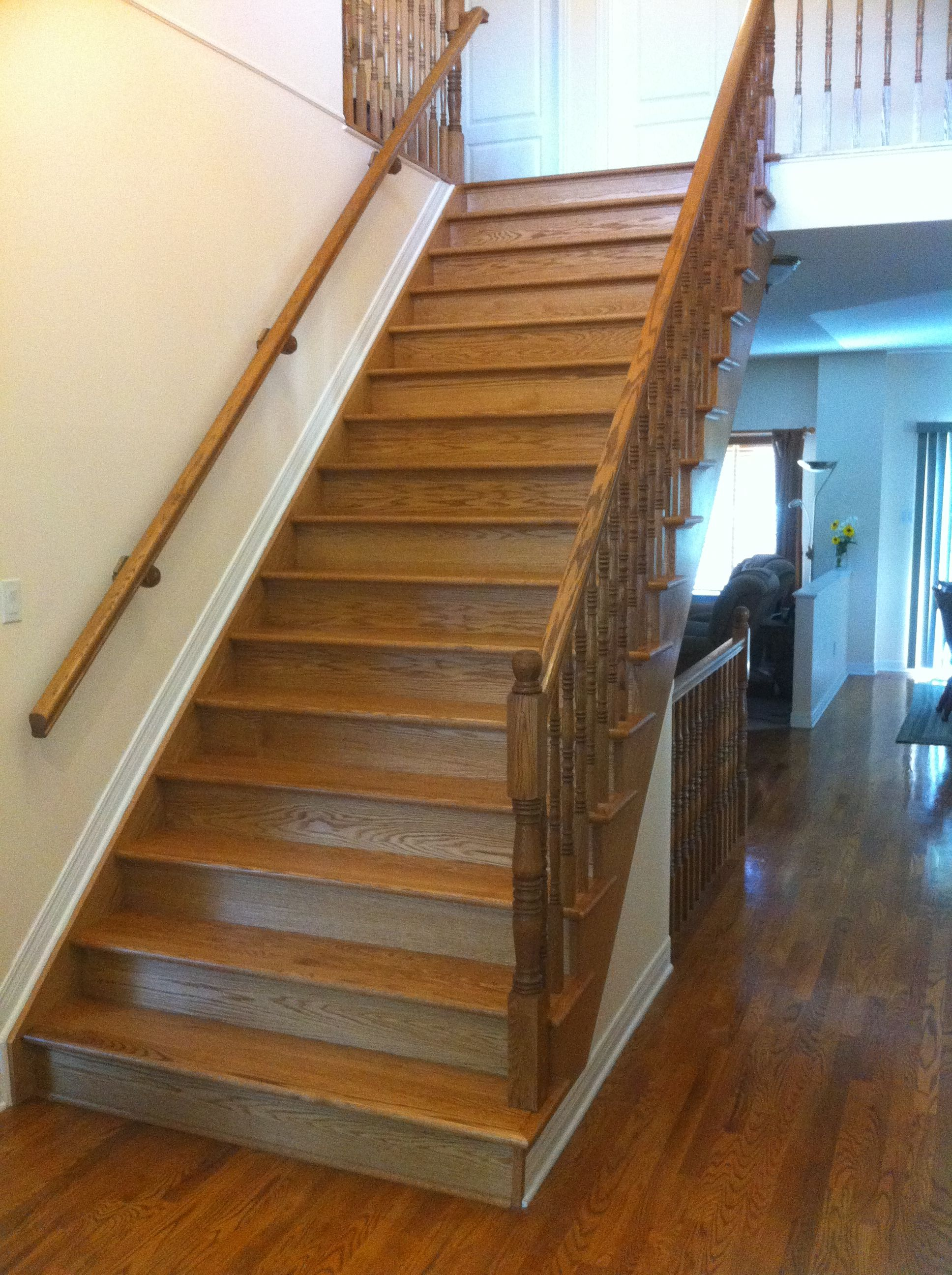 All Wood Stairs With Lights On The Side Wooden Staircase Design
