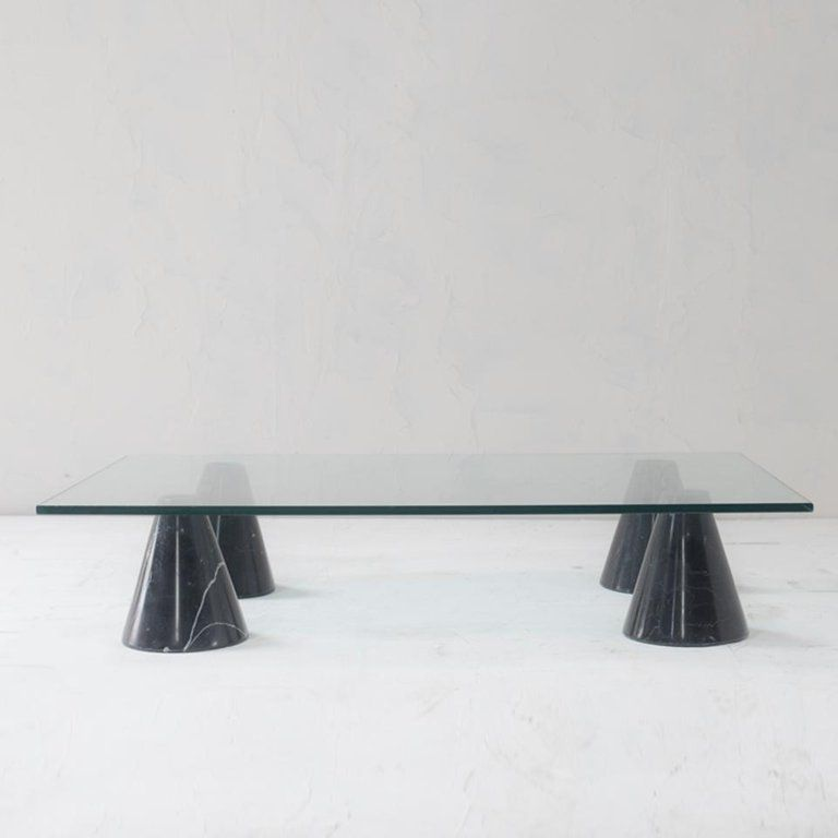 Mid Century Modern Glass And Black Marble Coffee Table From Italy