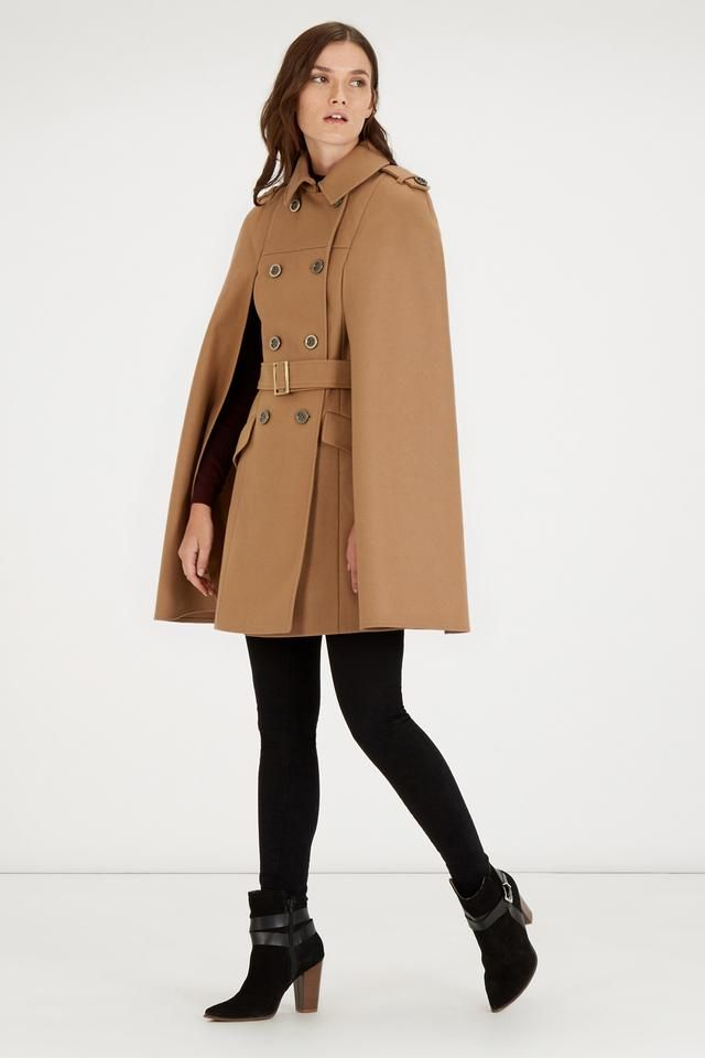 Coats Longline Outerwear Belted And Sewing Cape qwxFzYt