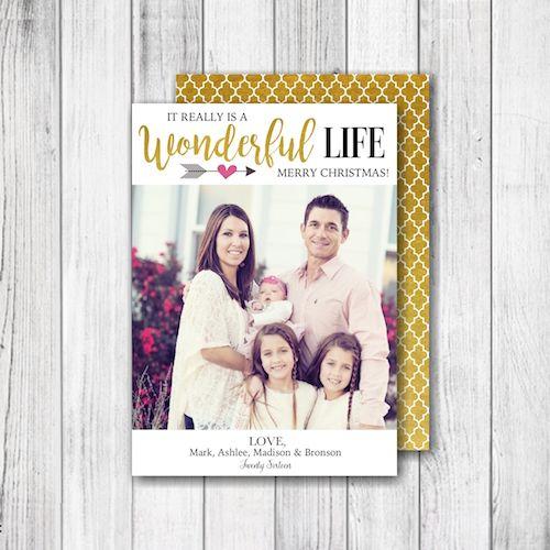It S A Wonderful Life Christmas Photo Card Merry 1 Holiday Gold Quatrefoil Modern Digital