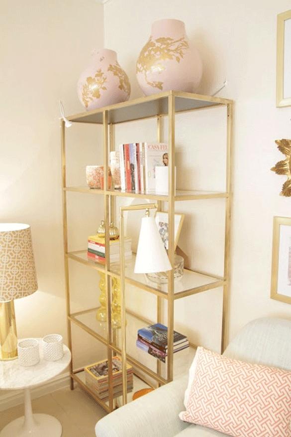 Diy method gold spray paint on an ikea vittsjo bookcase for Ikea backless bookcase