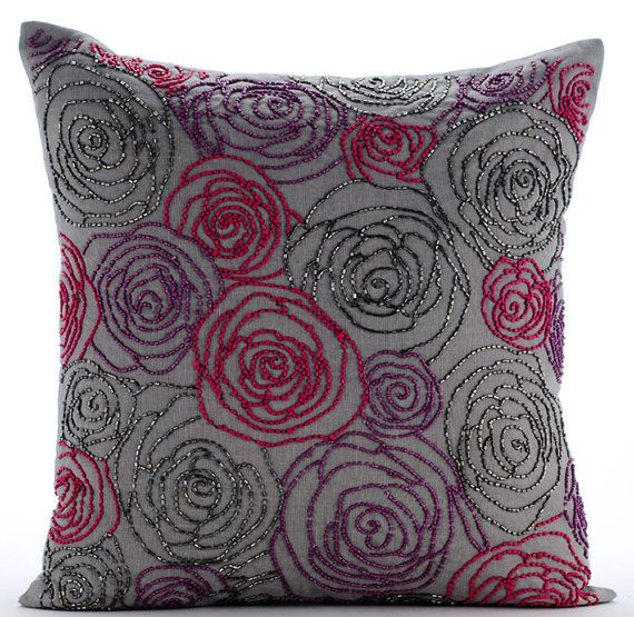 Designer Grey Pillow Cases, 16x16 Cotton Linen Pillows Cover, Square Multi Color Beaded Rose Flower Floral Theme Pillows Cover - Rose Diva _______________________________________________________________________________  The design Rose Diva has been conceptualized and created, keeping in mind the finest details and needs to decorate your beautiful abode. It is a perfect addition to enhance your living room, bedroom, guestroom or office. I promise it will give a WOW factor to you and your…