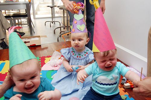 poor, crying babies!! but cute hats!!