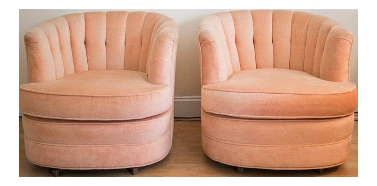 Best Pink Velvet Clamshell Swivel Chairs A Pair Swivel 640 x 480