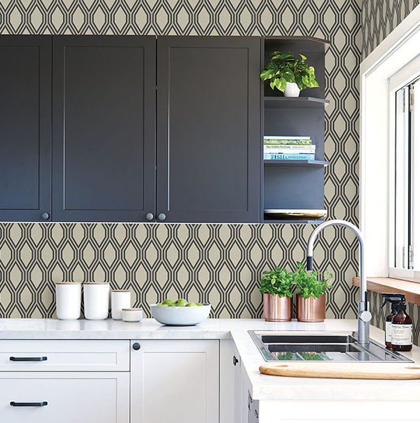 Aristas Taupe/Black Kitchen wallpaper, Kitchen