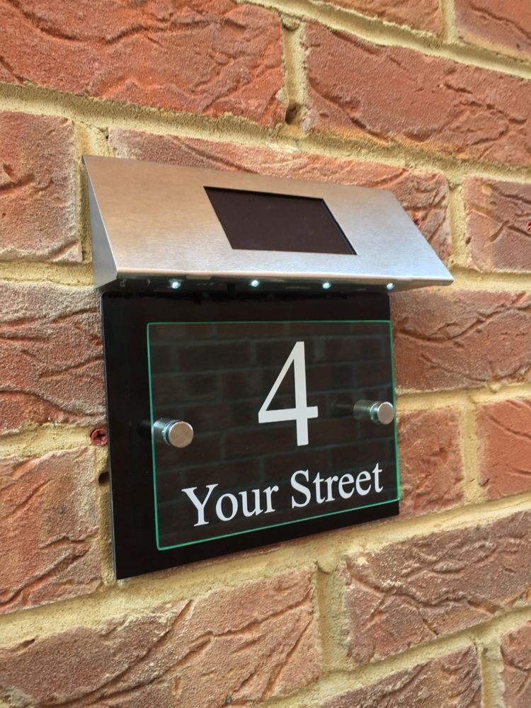 Modern House Sign Plaque Door Number Street Gl Effect Gloss Black Solar Light
