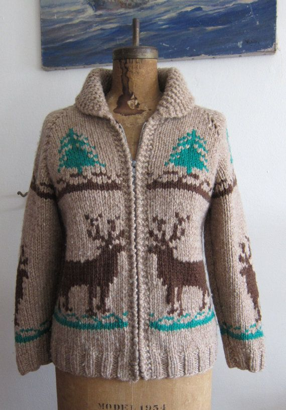 Vintage cowichan 1950s handknit heavy sweater with deer by slentis ...