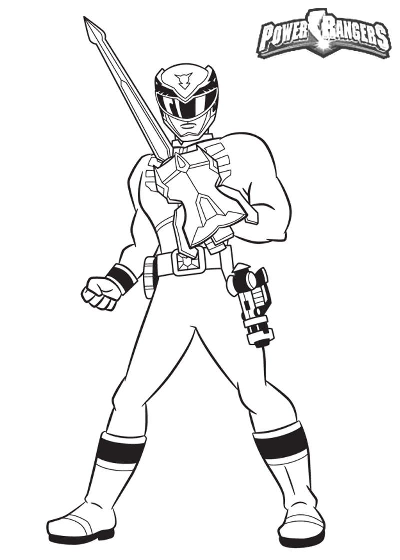 power rangers guard holding a sword coloring pages for kids printable power rangers coloring pages for kids - Power Rangers Dino Coloring Pages