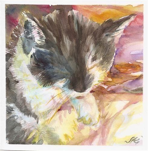 "Daily+Paintworks+-+""Clean+Cat""+-+Original+Fine+Art+for+Sale+-+©+jean+krueger"