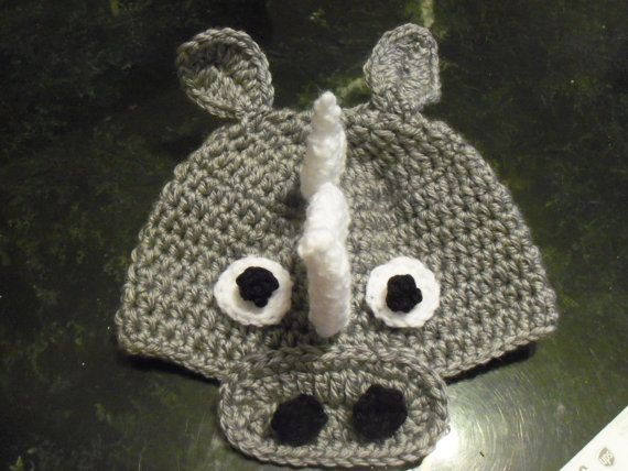 Baby or toddler hat  Rhino   any size 03 to 18mth same by MichLynn, $11.95