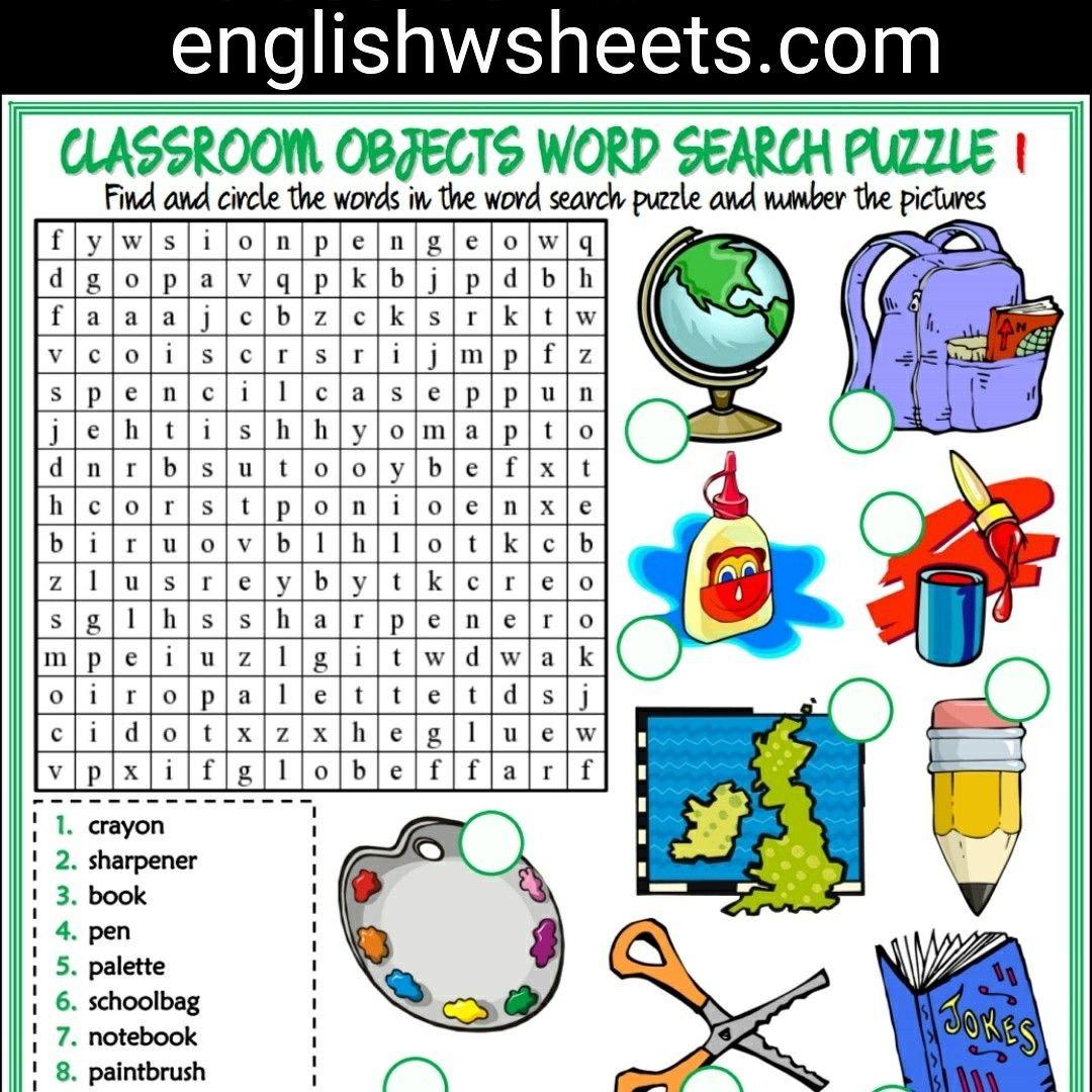 Classroom Objects Esl Printable Word Search Puzzle ...