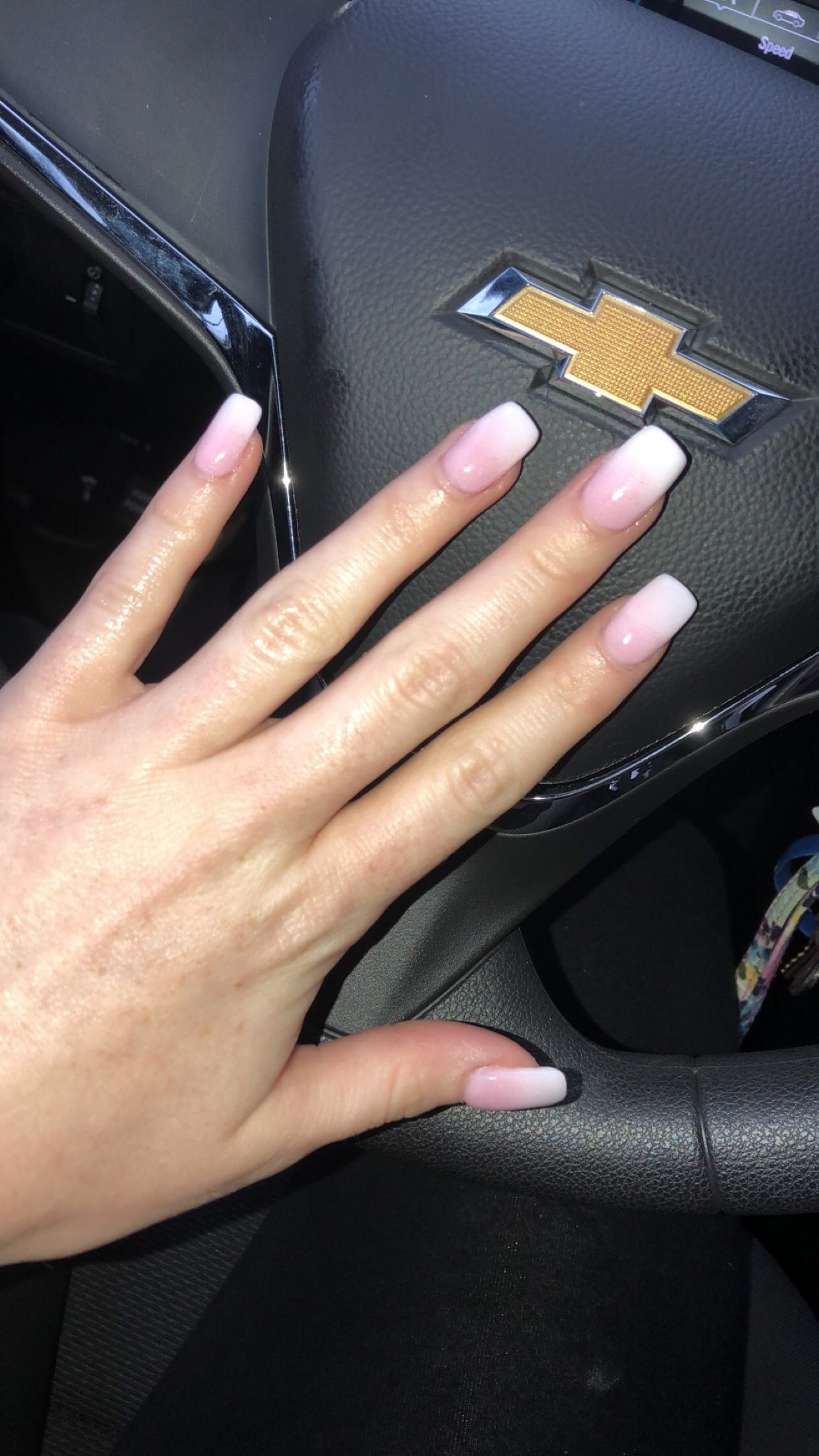 Pink and White Ombré Dip Powder Acrylics | Dip powder ...