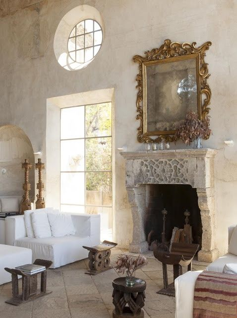 Rustic Hand Plaster And Antique Stone Fireplace Antique Stone