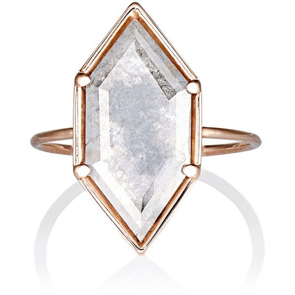 Grace Lee Rustic-Diamond Ring ($2,390) ❤ liked on Polyvore featuring jewelry, rings, colorless, clear rings, band jewelry, diamond rings, 14 karat gold jewelry and clear crystal ring