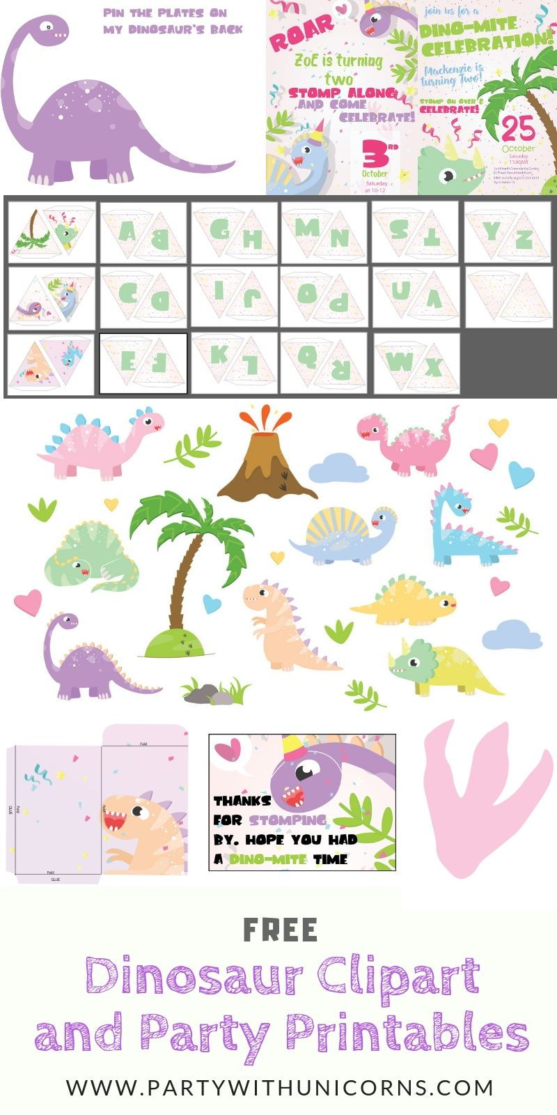 free dinosaur clipart and party printables dinosaurs dinosaurparty dino [ 800 x 1600 Pixel ]