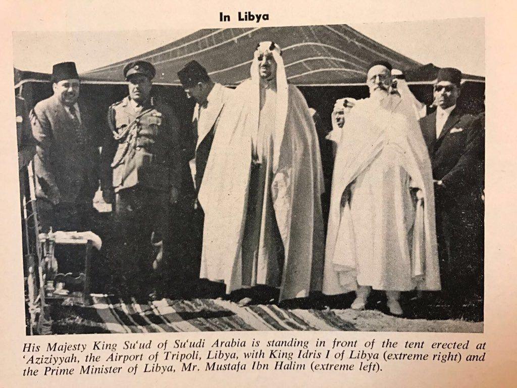 22 فبراير 1957 الملك إدريس السنوسي ملك ليبيا يستقبل في العزيزية طرابلس الملك سعود آل سعود ملك السعودية February 22 1957 Ki History Pictures History Libya