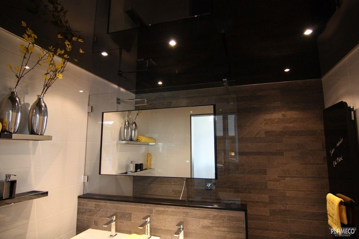 Zwart gelakt spanplafond met spotjes badkamer pvc spanplafond