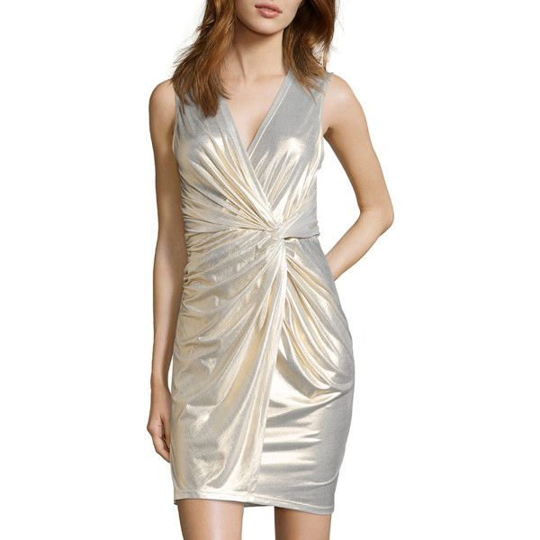 Hayden Gold Stretch Lamé 'lucia' Waist Knot Dress (363924601) ($119) ❤ liked on Polyvore featuring dresses, gold, gold party dress, white dress, long white cocktail dress, gold cocktail dress and long white dress