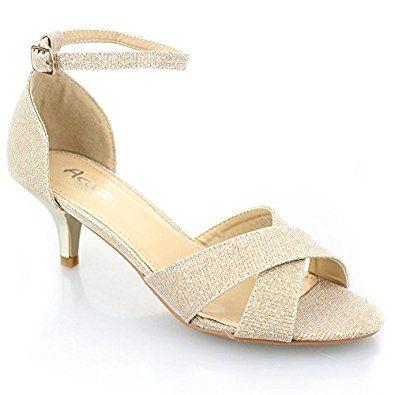 gold low heel shoes uk