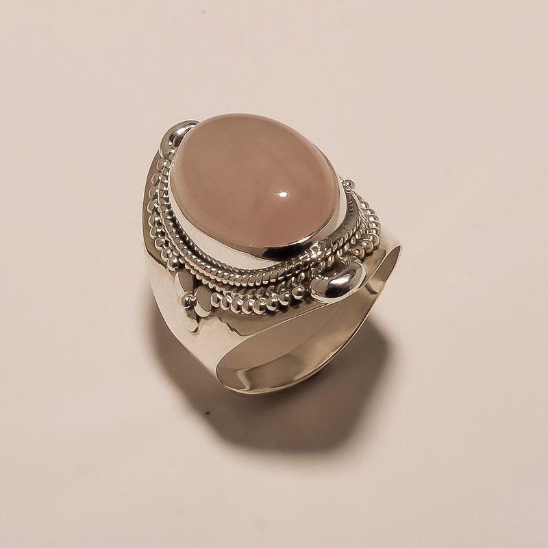 Natural Crystal Quartz 925 Sterling Silver /& 14K Rose Gold Ring Size 8 Handmade Ring  boho chic ring size 8 Fine Art Ring