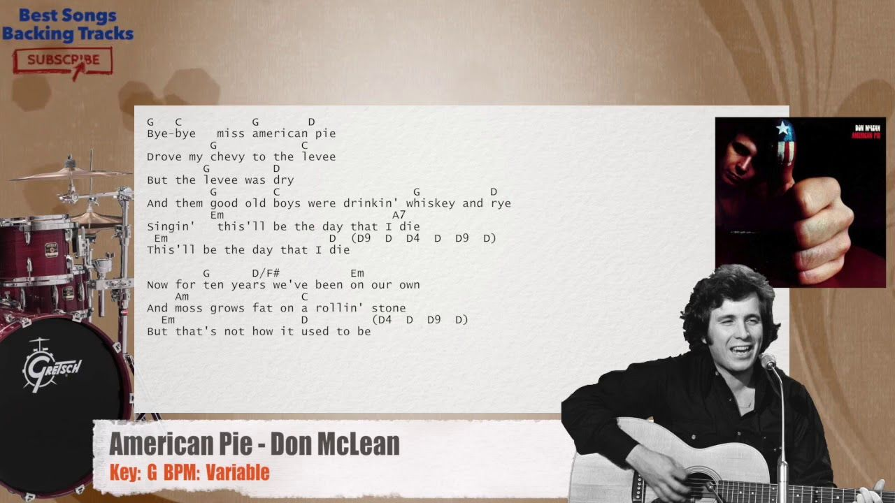 American Pie Don Mclean Drums Backing Track With Chords And Lyrics