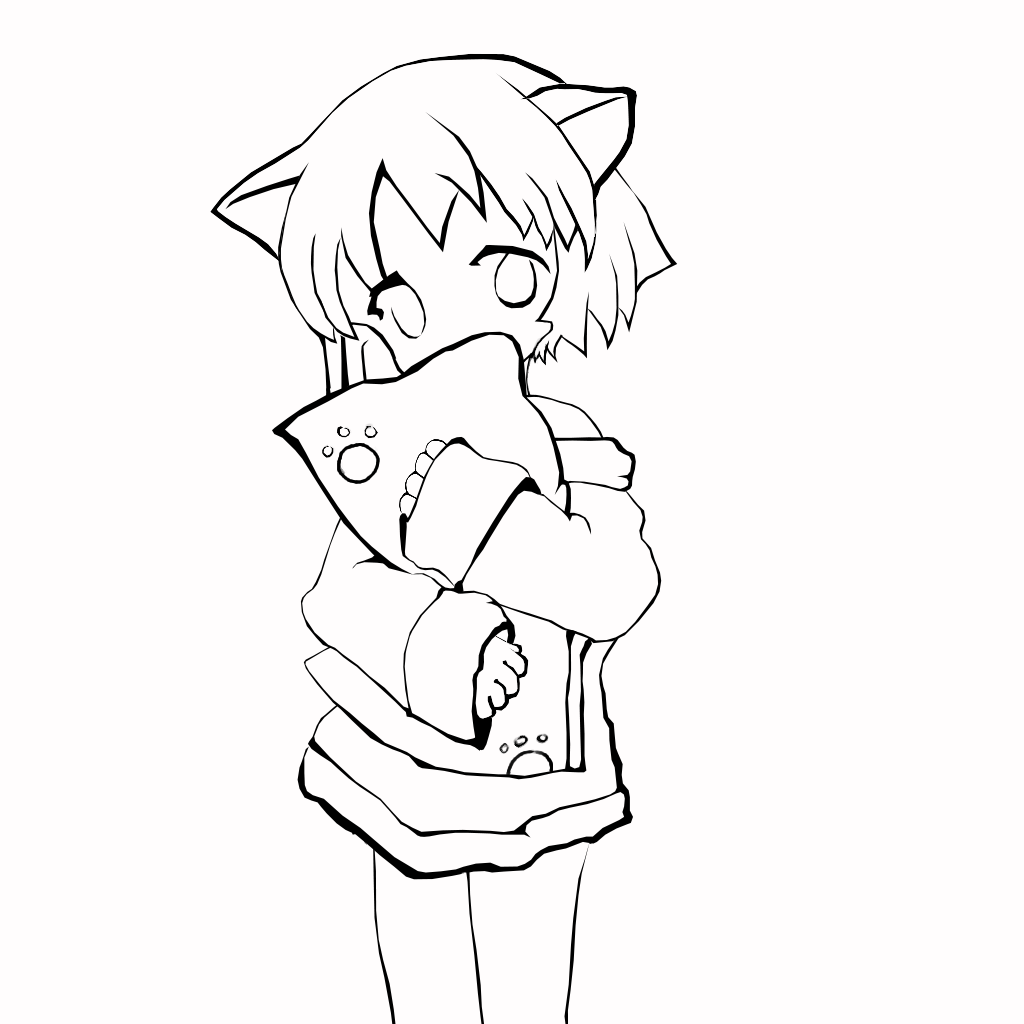 Image result for anime wolf girl chibi outline