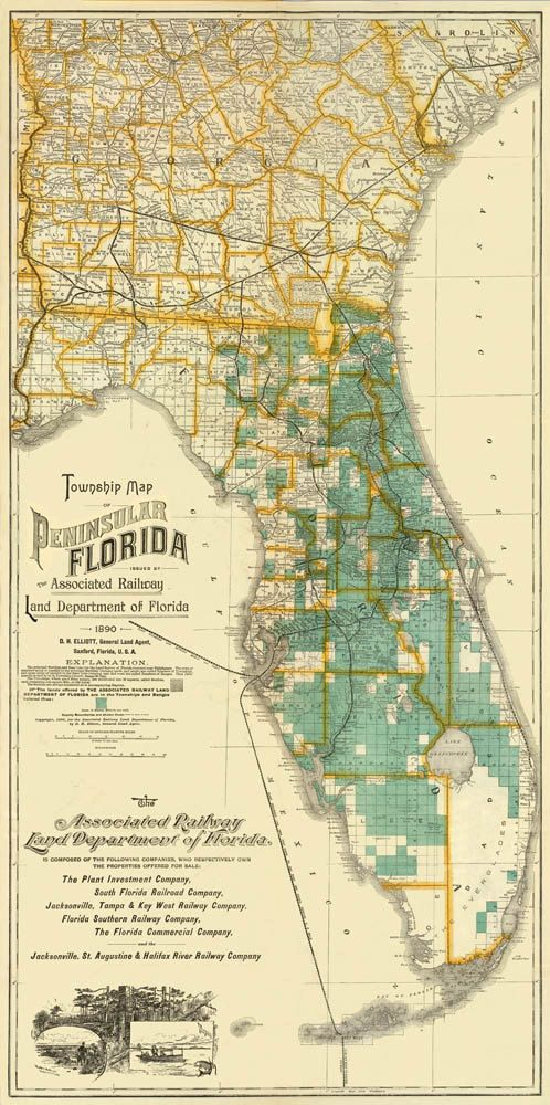 Vintage map of Florida Print 175 x 35 by AncientShades on Etsy