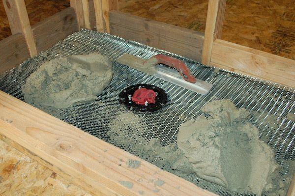 Shower Pan Mortar Placing Shower Pan Shower Pan Tile Shower Tile