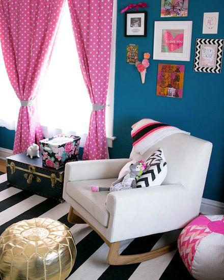 Une jolie chambre de fille en bleu et rose | Chambre fille bleue ...