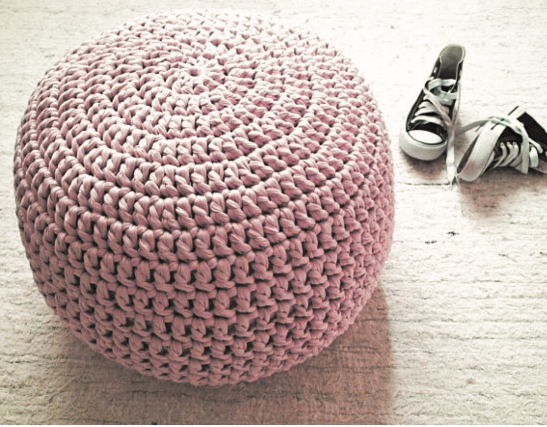Blush Pink Crochet Pouf Ottoman Nursery Footstool Round Floor Seating Pillow Knit Pouffe Dusty Pink Nursery