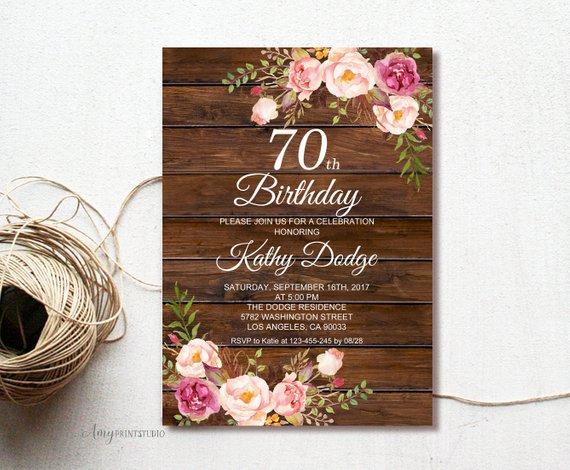 70th Birthday Invitation Floral Women Wood Rustic Invite PERSONALIZE