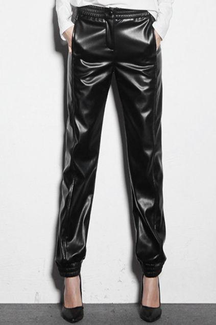 official images cheaper quite nice vinyl black loose pants, baggy leather pants   Pants ...
