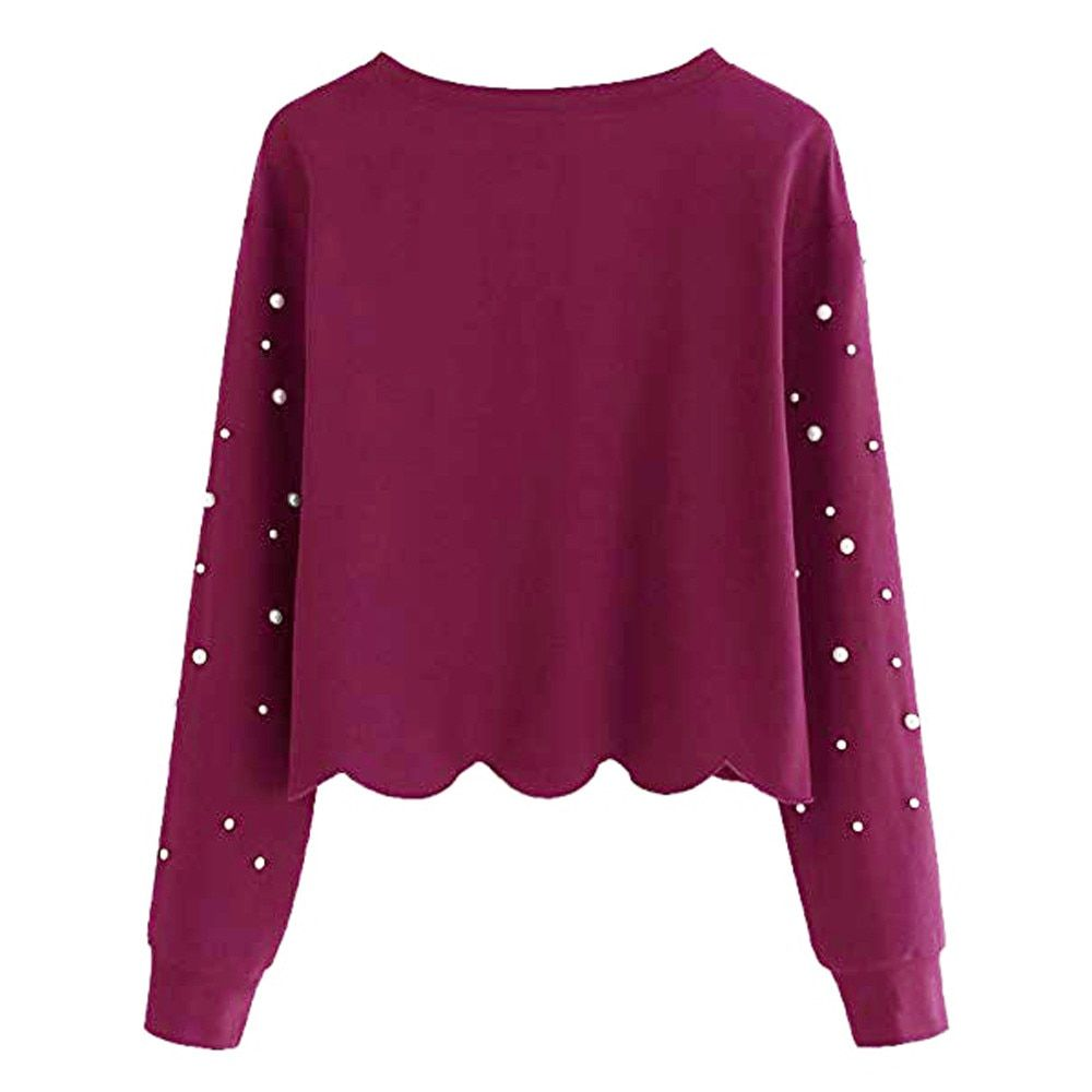 f00e4a34a4f9 Cheap Womens rebordear Tops blusa manga larga O cuello Casual Camisa ...