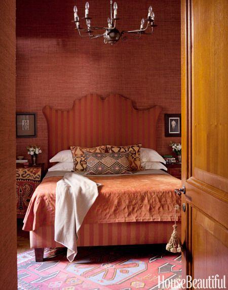 Bedroom with Ethnic Prints - Marsala #housebeautiful #decor