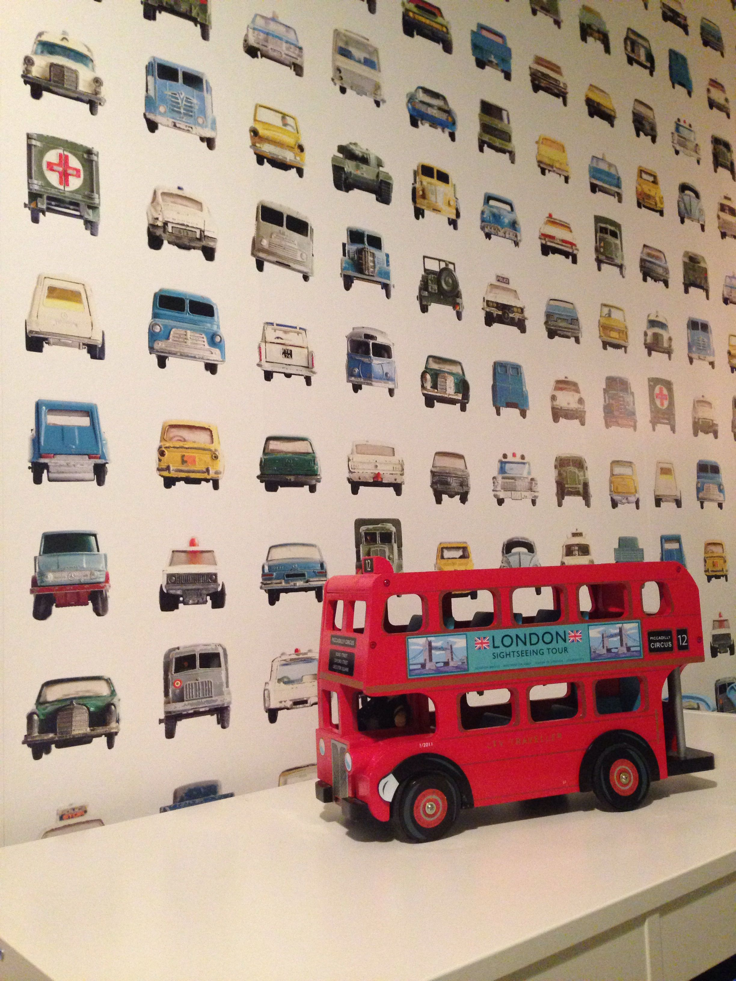 Cars Wallpaper Toddler Boys Room Studio Ditte Cars Wallpaper The Red Retro Wood Bus Is Bought In London Toddler Boys Room Kids Room Boy Room