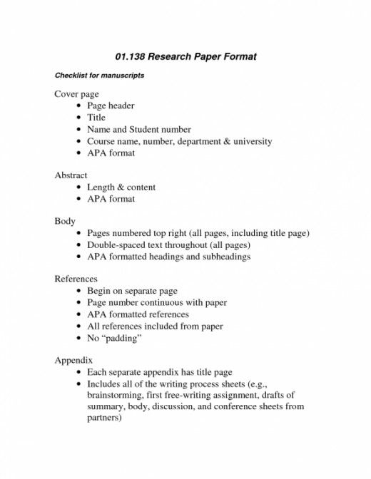 Structure Of College Research Paper Format Apa Research Paper
