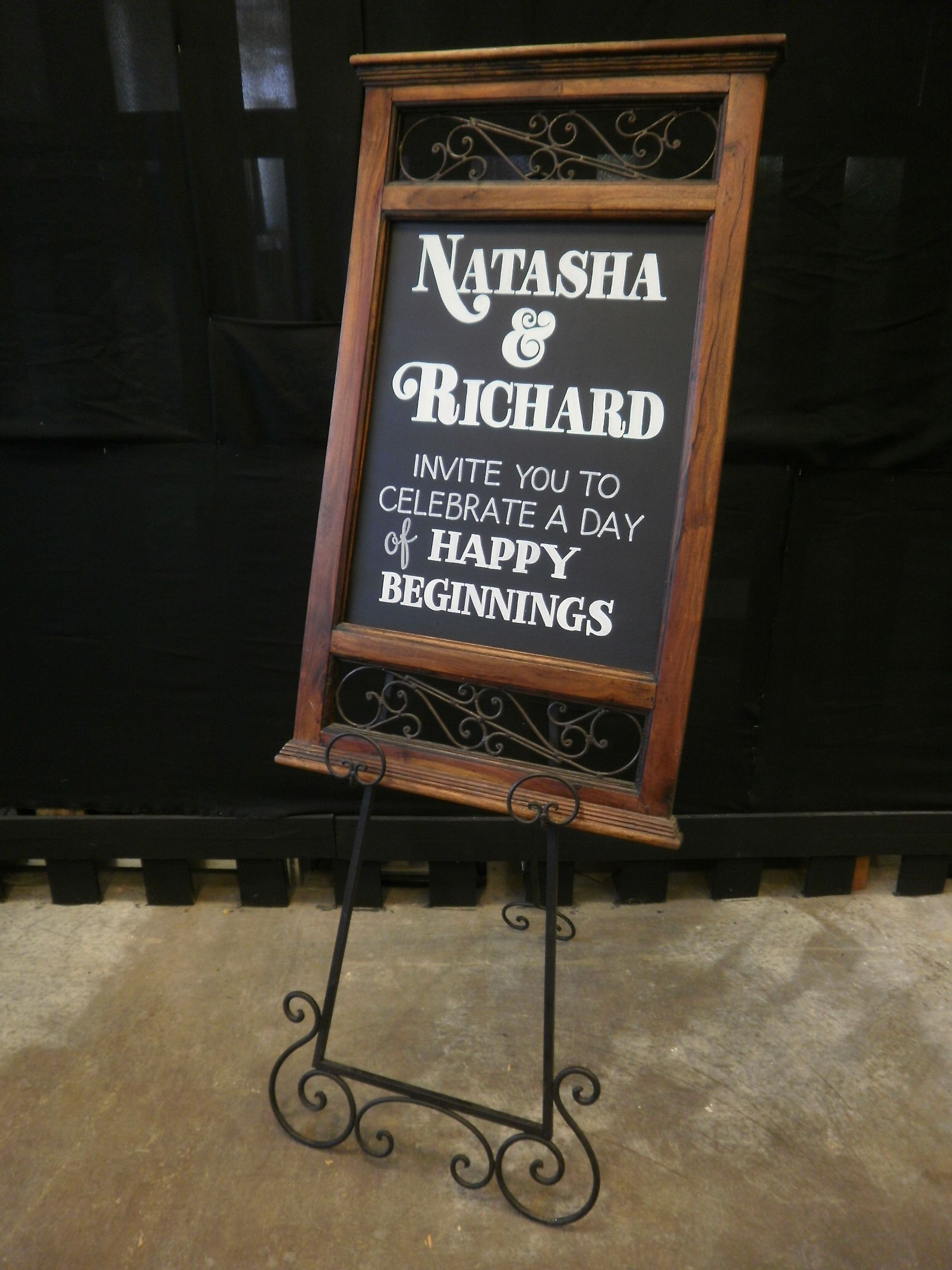 Magnificent antique sign and easel for Hire only