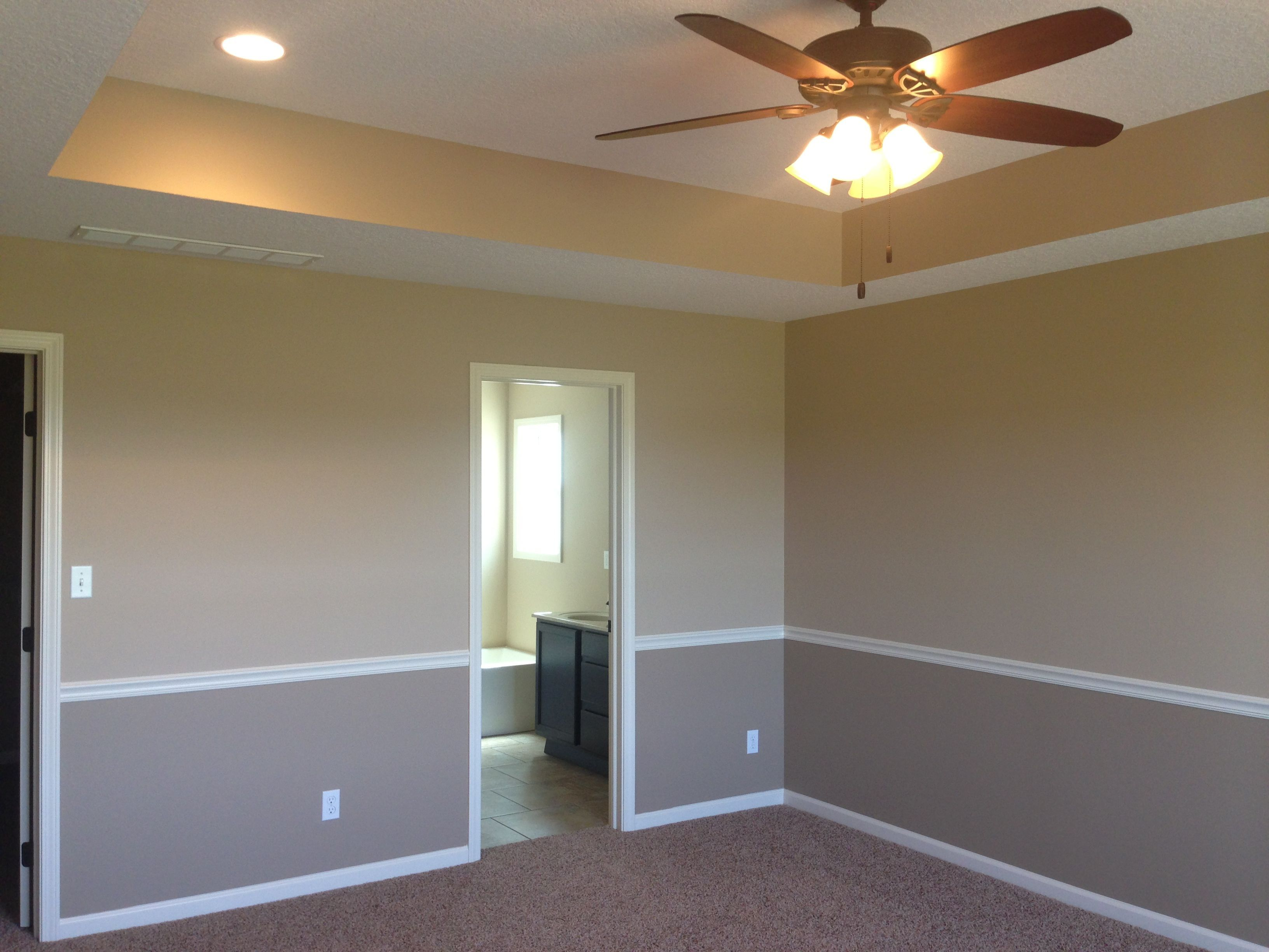 I like the tray ceiling and two tone walls with chair rail Basement ceiling color ideas