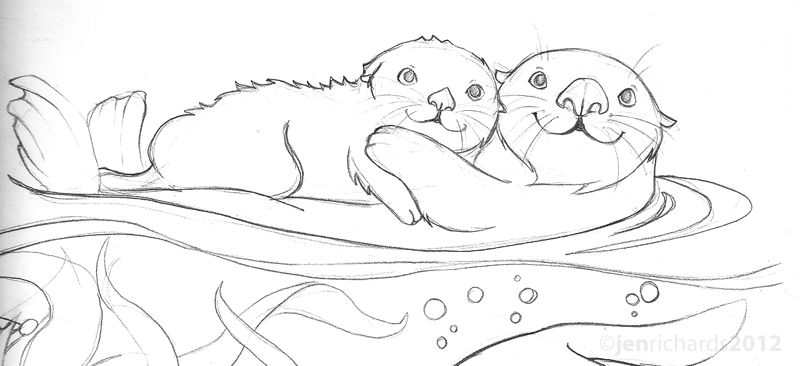 Sea Otter Awareness Week 2012 Animal Coloring Pages Baby