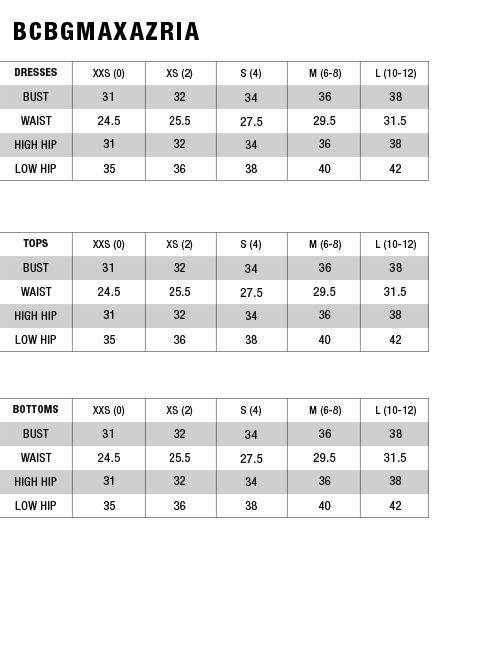 Bcbg size chart sizing chart wrmc in 2019 flippy skirts size