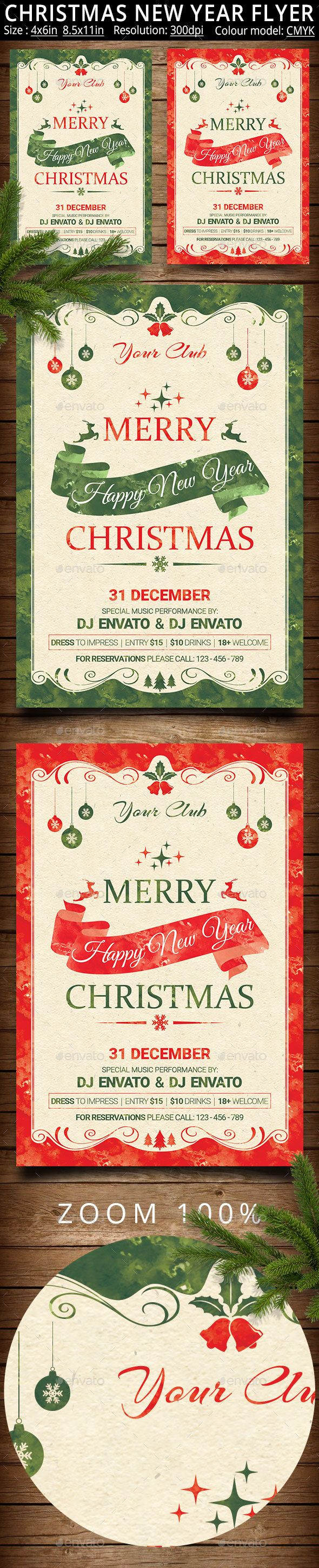 Christmas New Year Party Flyer And Poster  Party Flyer Template