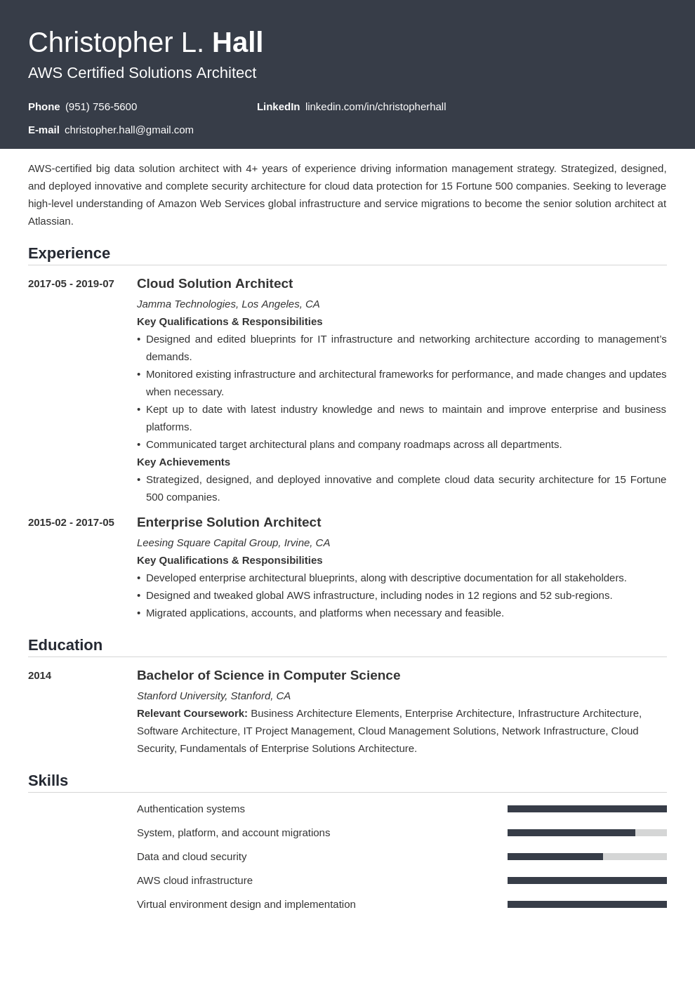 solution architect resume example template influx in 2020