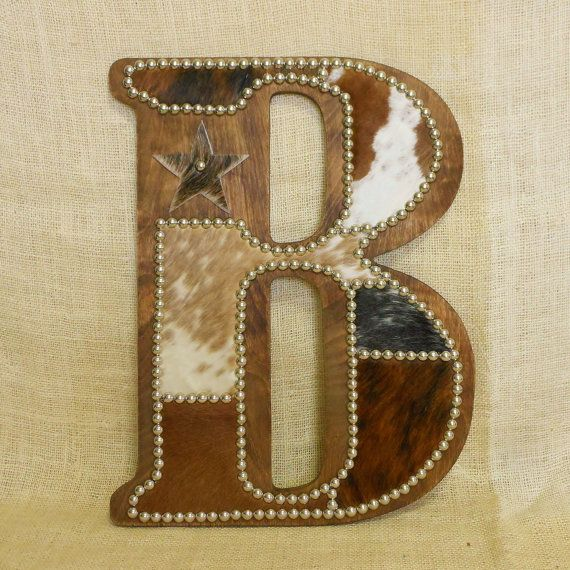 Cowhide Wall Letter B Western Home Decor Wall by LizzyandMe