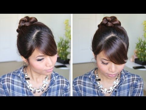 Knotted Hair Bun Hairstyle Hair Tutorial Put In Ponytail Wet Your Hair And Add Mousse Tie Knots In Your Hai Bun Hairstyles Long Hair Styles Knot Hair Bun